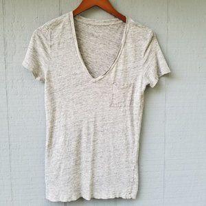 J Crew 100% Linen SS Heathered Tee Shirt Small